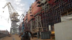 Loader Moves to Camera in Industry Shipbuilding stock video