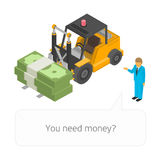 Loader with pile of cash. Illustration of isometric Loader with pile of cash and businessman. Business infographic concept. Big stacked pile of cash. Hundreds Royalty Free Stock Photo