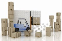 Loader on a plane from puzzle with boxes Stock Photo