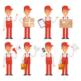 Loader postman in various poses Stock Photo