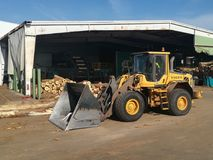 Loader in a sawmill. Wooden logs in a pile, in a sawmill Stock Images