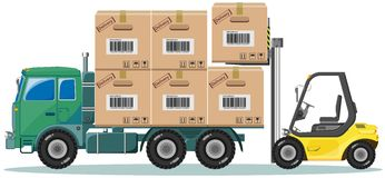 Loader ships the goods in warehouse, vector Stock Photography