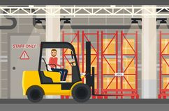 Loader or truck with forklift at warehouse Stock Photography