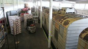 Loader unloading boxes of fruit after unloading wagon train. Logistics. Freight stock video