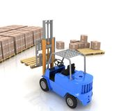 Loader in warehouse with pallet Royalty Free Stock Photo