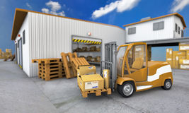 Loader With Boxes In Warehouse Background Royalty Free Stock Photography