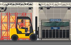Tyres and windshield near forklift loader Royalty Free Stock Image