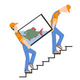 Loaders with an aquarium on the stairs Royalty Free Stock Photography