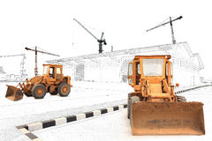 Loaders concept. Concept Loaders excavators construction machinery equipment Royalty Free Stock Images