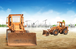 Loaders concept. Concept Loaders excavators construction machinery equipment Stock Photo