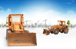 Loaders concept. Concept Loaders excavators construction machinery equipment Royalty Free Stock Photography