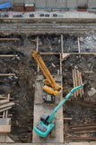 Loaders on site. Are under construction. top view Royalty Free Stock Photos