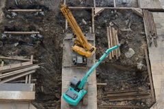 Loaders on site. Are under construction. top view Stock Photos