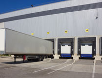 At loading. Trailer of truck at loading Royalty Free Stock Photo