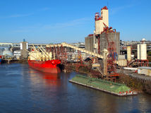 Loading A Cargo Ship, Grain Elevators Portland OR. Stock Images