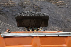 Loading aggregate in the quarry. Loading rock aggregate in the quarry Stock Photography