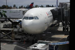 Loading Airplane. Delta Airplane  on SEATAC Airport  in Seattle, WA and it is loaded with food and luggage Stock Image