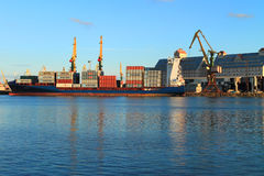Loading of the ALDEBARAN J container carrier in the port of Kaliningrad. KALININGRAD, RUSSIA — AUGUST 26, 2014: Loading of the ALDEBARAN J container carrier in Royalty Free Stock Image