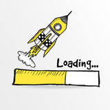 Loading bar with a doodle rocket,  illustration Royalty Free Stock Photography