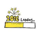 2016 loading bar with fireworks, new year, anniversary or party concept,. Illustration sketch Stock Photo
