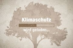 Loading bar - german text: Klimaschutz wird geladen. Klimaschutz wird geladen - german text - translation: climate protection loading vector illustration