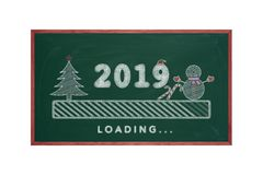 Loading bar 2019 green chalkboard with christmas tree, snowman and candy cane, happy new year vector illustration