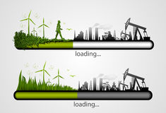 Loading bar with the loading of green. Stock Photos