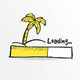 Loading bar. Palm on the tropical island, . Loading bar. Palm on the tropical island. Summer holiday concept. Travel web icon. Stock  illustration, sketch Stock Images