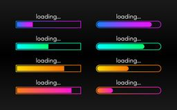 Loading bar set on dark backdrop. Progress visualization. Color gradient lines. Loading status collection. Web design. Elements on black background. Vector royalty free illustration