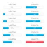 Loading bars elements set. Creative web design download timer or progress upload sign. Users completion indicator. Vector loading bar with steps 0 10 20 30 40 Stock Illustration