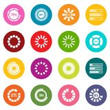 Loading bars and preloaders icons many colors set. Isolated on white for digital marketing Stock Photography