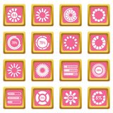 Loading bars and preloaders icons pink. Loading bars and preloaders icons set in pink color isolated vector illustration for web and any design Stock Image