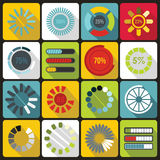 Loading bars and preloaders icons set, flat style Stock Photos