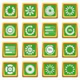 Loading bars and preloaders icons set green. Loading bars and preloaders icons set in green color isolated vector illustration for web and any design Royalty Free Stock Photography