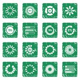 Loading bars and preloaders icons set grunge. Loading bars and preloaders icons set in grunge style green isolated vector illustration Royalty Free Stock Photo