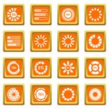 Loading bars and preloaders icons set orange. Loading bars and preloaders icons set in orange color isolated vector illustration for web and any design Stock Photography