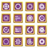 Loading bars and preloaders icons set purple. Loading bars and preloaders icons set in purple color isolated vector illustration for web and any design Royalty Free Stock Images