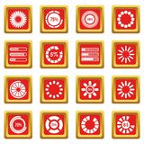 Loading bars and preloaders icons set red. Loading bars and preloaders icons set in red color isolated vector illustration for web and any design Royalty Free Stock Photos