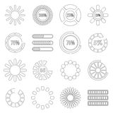 Loading bars and preloaders set, outline style Royalty Free Stock Photo