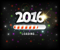 2016 loading. On black background with colored lights effect Royalty Free Stock Image