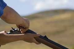 Loading black powder rifle Stock Images