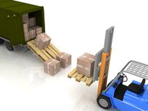 Loading of boxes Royalty Free Stock Image