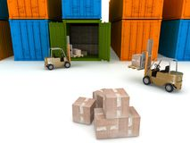 Loading of boxes is in a container Royalty Free Stock Images