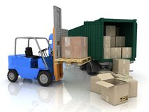 Loading of boxes in a container vector illustration
