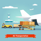 Loading boxes to flight aircraft Royalty Free Stock Photo