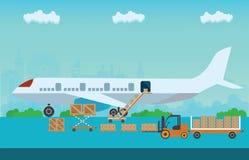 Loading boxes to preparing to flight aircraft. Loading boxes to preparing to flight aircraft with platform of air freight. Air cargo transportation conceptual Stock Photos