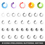 Loading And Buffering Icon Set. Preloaders. Vector Stock Photos