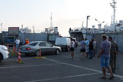 Loading car ferry in the port of Kavkaz Stock Images
