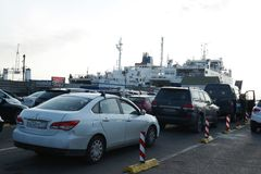 Loading car ferry in the port of Kavkaz Royalty Free Stock Photo