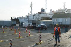 Loading car ferry in the port of Kavkaz Stock Photo